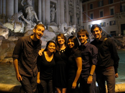 Ben, Leisha, Dominique, Anthony, Rain and I at the Trevi Fountain